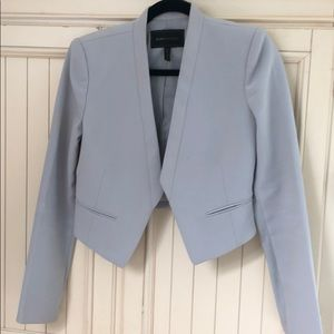 BCBG MaxAzria cropped pale blue collarless blazer